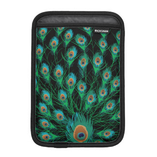 Illustration With Peacock Feathers on Black iPad Mini Sleeve