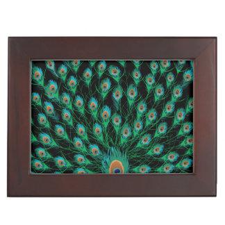 Illustration With Peacock Feathers on Black Keepsake Box