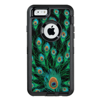 Illustration With Peacock Feathers on Black OtterBox iPhone 6/6s Case