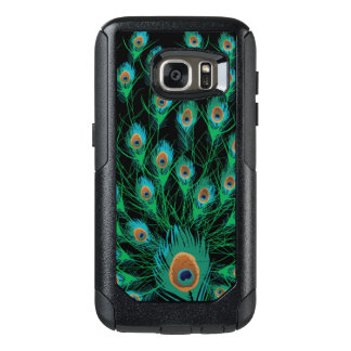 Illustration With Peacock Feathers on Black OtterBox Samsung Galaxy S7 Case