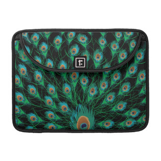 Illustration With Peacock Feathers on Black Sleeve For MacBook Pro