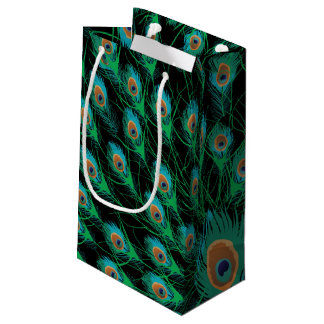 Illustration With Peacock Feathers on Black Small Gift Bag