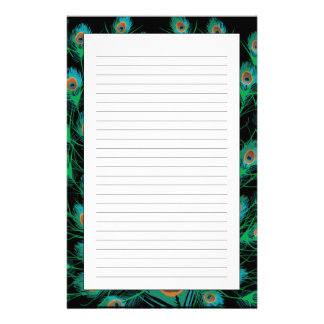 Illustration With Peacock Feathers on Black Stationery
