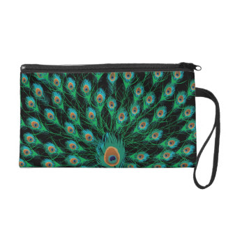 Illustration With Peacock Feathers on Black Wristlet