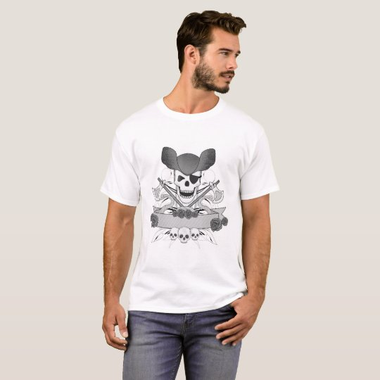 illustration with  snakes,  skull, and roses T-Shirt