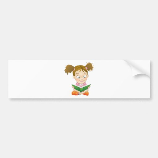 Illustration young girl reading book bumper stickers