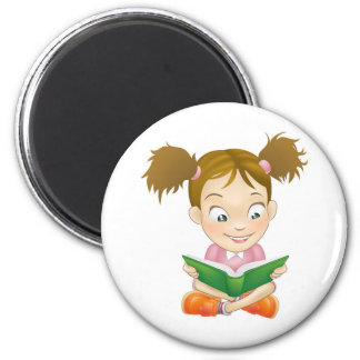 Illustration young girl reading book magnet
