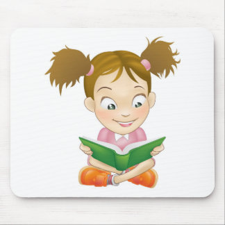 Illustration young girl reading book mousemat