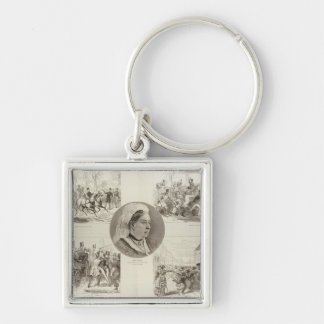 Illustrations of Attacks on Queen Victoria Silver-Colored Square Key Ring