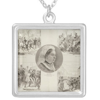 Illustrations of Attacks on Queen Victoria Silver Plated Necklace