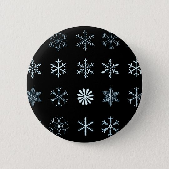 Illustrations of Snowflakes (black) 6 Cm Round Badge