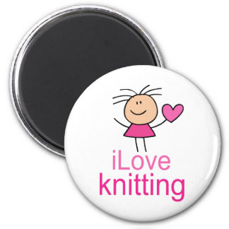 iLove Knitting Gift 6 Cm Round Magnet
