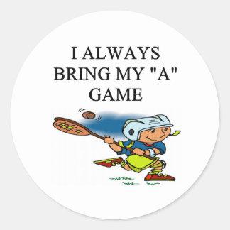ilove lacrosse classic round sticker