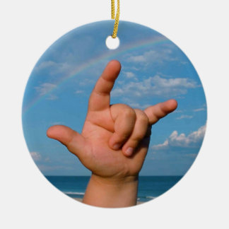 ILY hand under a rainbow  Sign Language Christmas Ornament