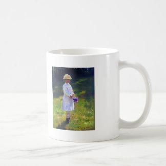 Ilya Repin- Girl with Flowers. Daughter of Artist. Basic White Mug
