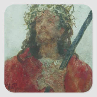 Ilya Repin- Jesus in a crown of thorns Square Sticker