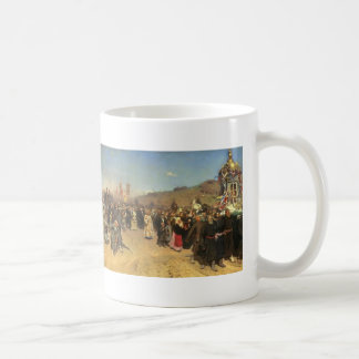 Ilya Repin- Krestny Khod in Kursk Gubernia Basic White Mug