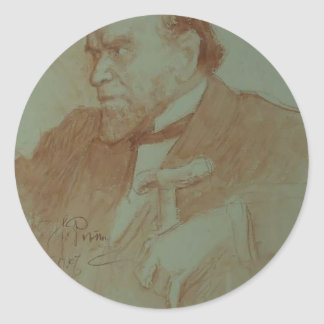 Ilya Repin: Portrait of Academician A. F. Koni Round Sticker