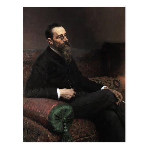 Ilya Repin- Portrait of Composer Nikolay -Korsakov Post Card