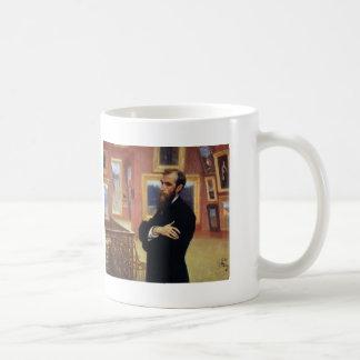 Ilya Repin- Portrait of Pavel Tretyakov Basic White Mug