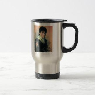 Ilya Repin- Portrait of the sculptor E.P.Tarhanova 15 Oz Stainless Steel Travel Mug