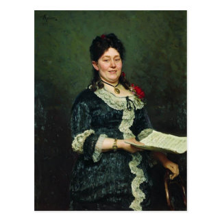 Ilya Repin- Portrait of the Singer Alexandra Molas Post Cards