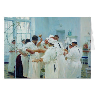 Ilya Repin- The Surgeon in Operating Theater Greeting Card