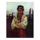 Ilya Repin- Ukranian Girl by a Fence Post Card