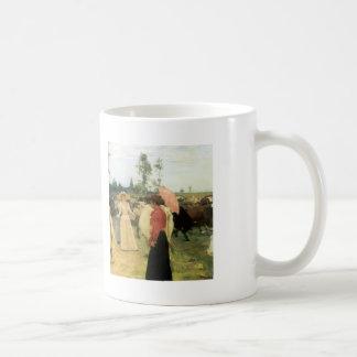 Ilya Repin- Young ladys walk among herd of cow Basic White Mug