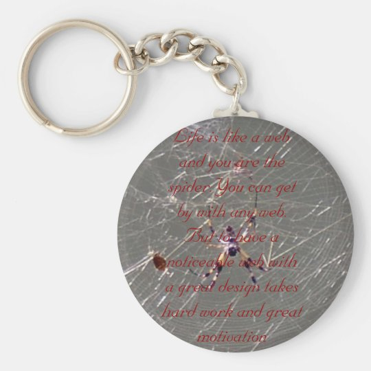 IM000391, Life is like a web and you are the sp... Basic Round Button Key Ring