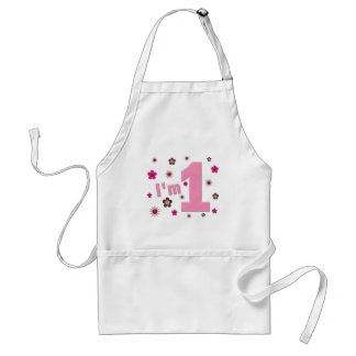 """I'm 1"" Pink And Brown Flowers Birthday Aprons"