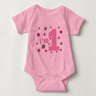 """I'm 1"" Pink And Brown Flowers Birthday Baby Bodysuit"