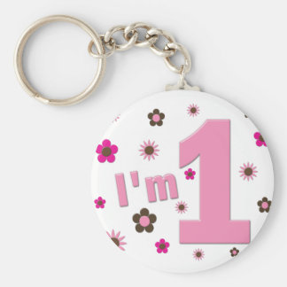 """""""I'm 1"""" Pink And Brown Flowers Birthday Basic Round Button Key Ring"""