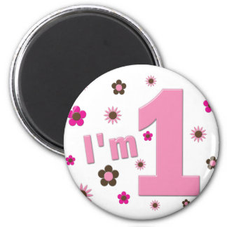 """I'm 1"" Pink And Brown Flowers Birthday Fridge Magnets"