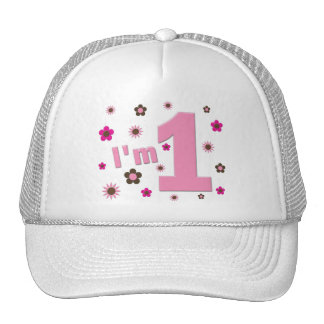"""""""I'm 1"""" Pink And Brown Flowers Birthday Mesh Hats"""