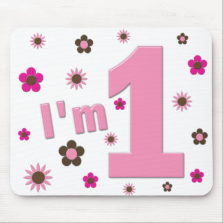 """I'm 1"" Pink And Brown Flowers Birthday Mouse Pads"