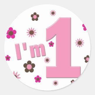"""I'm 1"" Pink And Brown Flowers Birthday Round Sticker"