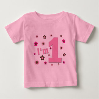 """""""I'm 1"""" Pink And Brown Flowers Birthday Tee Shirt"""