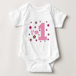 """I'm 1"" Pink And Brown Flowers Birthday Tee Shirt"