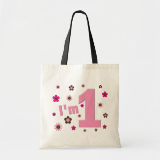"""""""I'm 1"""" Pink And Brown Flowers Birthday Budget Tote Bag"""