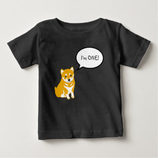 I'm 1 Shiba Inu Speech Bubble 2 Black Baby Tee