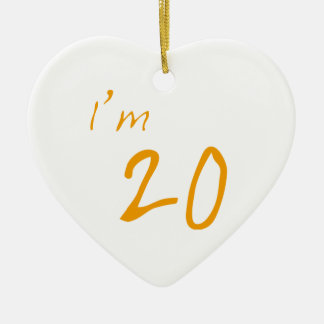 I'm 20 ceramic heart decoration
