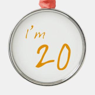 I'm 20 Silver-Colored round decoration