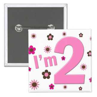 """""""I'm 2"""" Pink & Brown Flowers 15 Cm Square Badge"""
