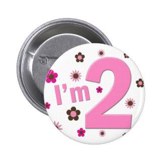 """I'm 2"" Pink & Brown Flowers 6 Cm Round Badge"