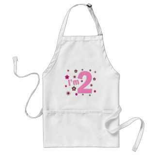 """I'm 2"" Pink & Brown Flowers Adult Apron"