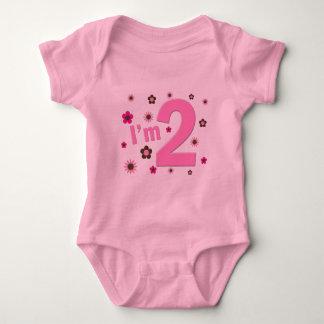 """I'm 2"" Pink & Brown Flowers Baby Bodysuit"