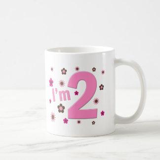 """""""I'm 2"""" Pink & Brown Flowers Basic White Mug"""