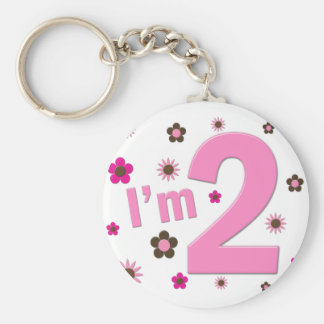 """I'm 2"" Pink & Brown Flowers Key Chain"