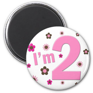 """I'm 2"" Pink & Brown Flowers Magnet"